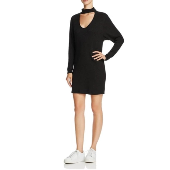 Splendid Dresses & Skirts - Splendid Choker V-neck Stretch Mini Dress Black